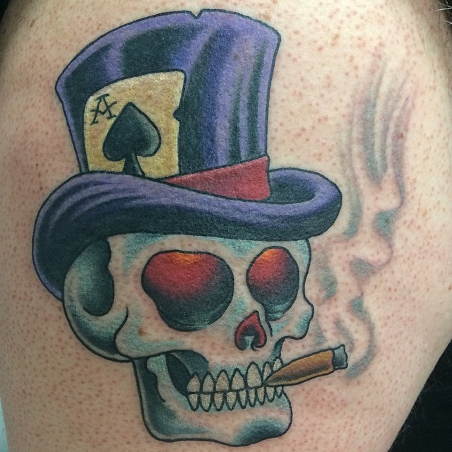 Skull with Top Hat by Matt Stankis #northsidetattoosdotcom #northsidetattoos #nst #mattstankis #neotraditional #neotrad #skull #tattoo #delaware #nofilter