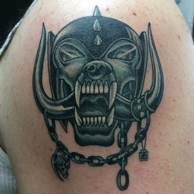 Motörhead War Pig tattoo by Matt Stankis #northsidetattoosdotcom #northsidetattoos #nst #mattstankis #tattoo #motörhead #motorhead #warpig #snaggletooth #metal #delaware #nofilter