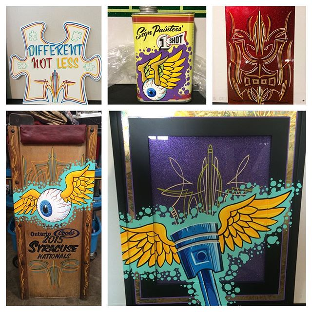 Pinstriping by Matt Stankis for the Artie's Party benefit at the Syracuse Nationals. Raising money for Ronald McDonald House #northsidetattoosdotcom #northsidetattoos #mattstankis #pinstriping #ArtiesParty #syracusenationals #oneshot #handpainted
