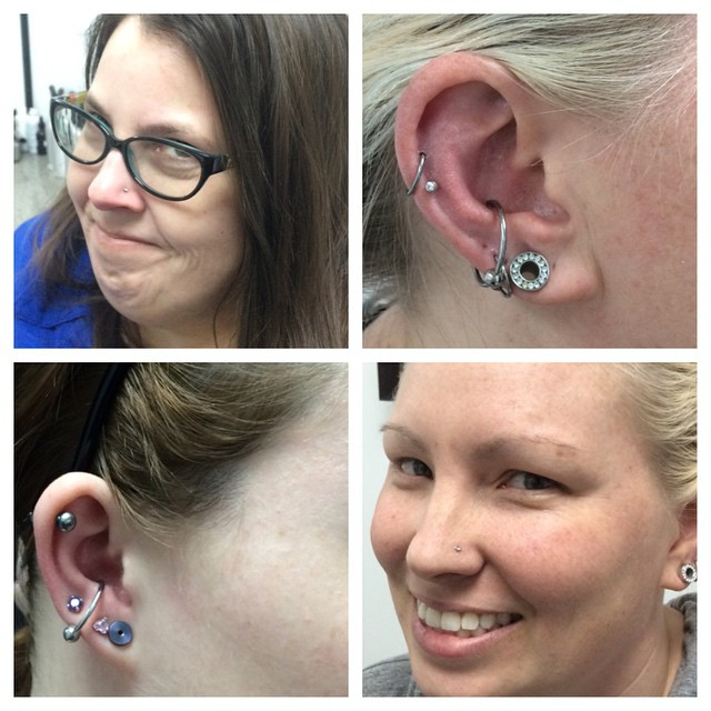 2 Conch, 2 Nostril, Helix & Lobe Piercings by Amber #northsidetattoosdotcom #northsidetattoos #northsidetattoo #nst #amberstankis #piercings #bodypiercing #wilmingtonde #delaware