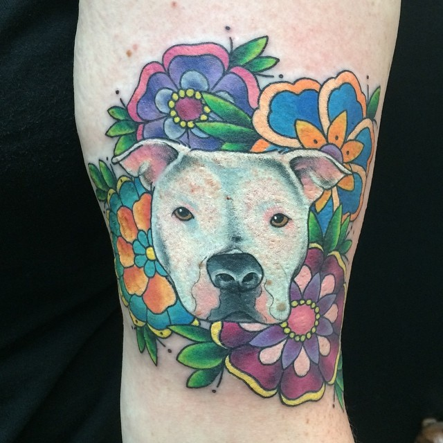 Pitbull & Neo-Traditional Flowers by Matt Stankis #northsidetattoosdotcom #northsidetattoos #nst #mattstankis #neotrad #neotraditional #neotradtattoos #tattoo #tattoosforwomen #pitbull #dog #delaware #nofilter