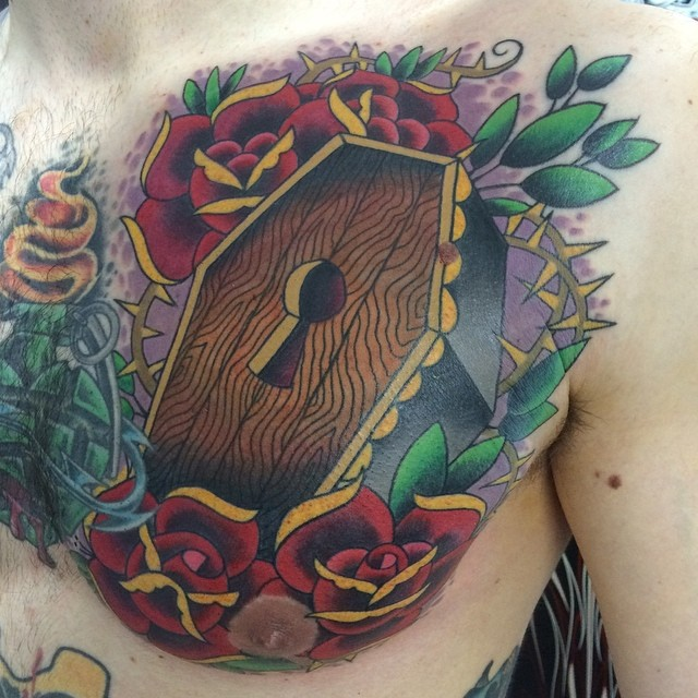 Coffin with Roses by Matt Stankis #northsidetattoosdotcom #northsidetattoos #nst #mattstankis #coffin #casket #death #coffindodger #cheatingdeath #tattoo #neotraditional #neotradtattoos #neotrad #delaware #nofilter