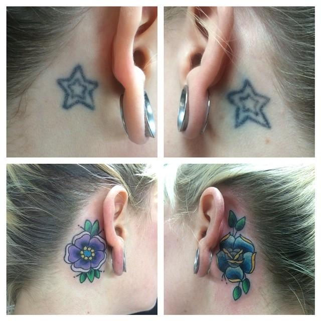 Neo-Traditional Flower cover-ups by Matt Stankis. #northsidetattoosdotcom #northsidetattoos #nst #mattstankis #neotraditional #neotrad  #neotradsub  #tattoo #tattoosforwomen #coverup #delaware #nofilter