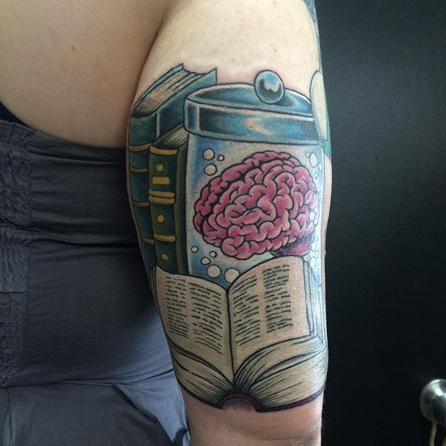 Books & Brain in Jar by Matt Stankis #northsidetattoosdotcom #northsidetattoos #northsidetattoo #mattstankis #tattoo #braintattoo #booktattoo #tattoos #tattoosforwomen #brainytattoo #nursetattoo #colortattoo #eternalink #wilmingtonde #delawaretattoo #delaware