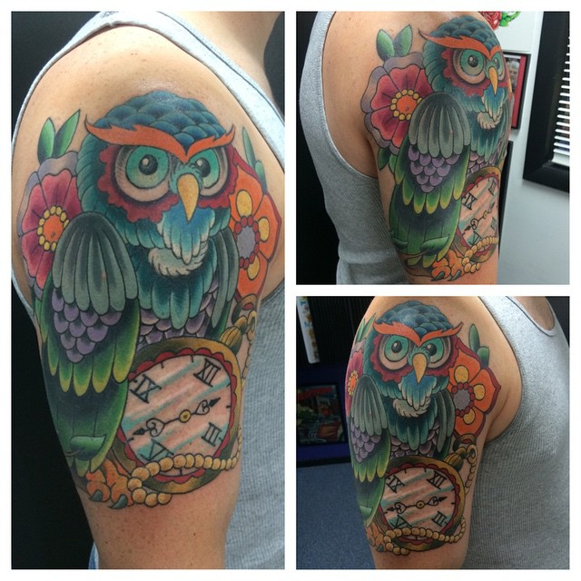 Owl with Pocket Watch by Matt Stankis #northsidetattoosdotcom #northsidetattoos #northsidetattoo #nst #mattstankis #tattoo #tattoosformen #owltattoo #owl #neotraditional #colortattoo #neotrad #delaware #nofilter