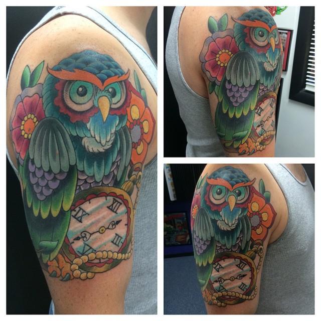Owl with Pocket Watch by Matt Stankis #northsidetattoosdotcom #northsidetattoos #northsidetattoo #nst #mattstankis #tattoo #tattoosformen #owltattoo #owl #neotraditional #colortattoo #neotrad #delaware #nofilter