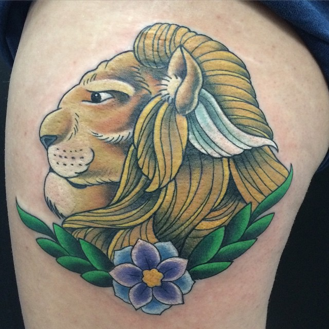 Lion by Matt Stankis #northsidetattoosdotcom #northsidetattoos #northsidetattoo #nst #mattstankis #tattoo #lion #neotraditional #neotrad #bright_and_bold #tattoosforwomen #colortattoo #delaware #nofilter