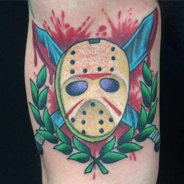 Jason Mask by Matt Stankis #northsidetattoosdotcom #northsidetattoos #northsidetattoo #nst #mattstankis #jasonmasktattoo #jasonvoorhees #fridaythe13th #horror #neotraditional #neotrad #boldwillhold #bright_and_bold #delaware #nofilter #killkillkill