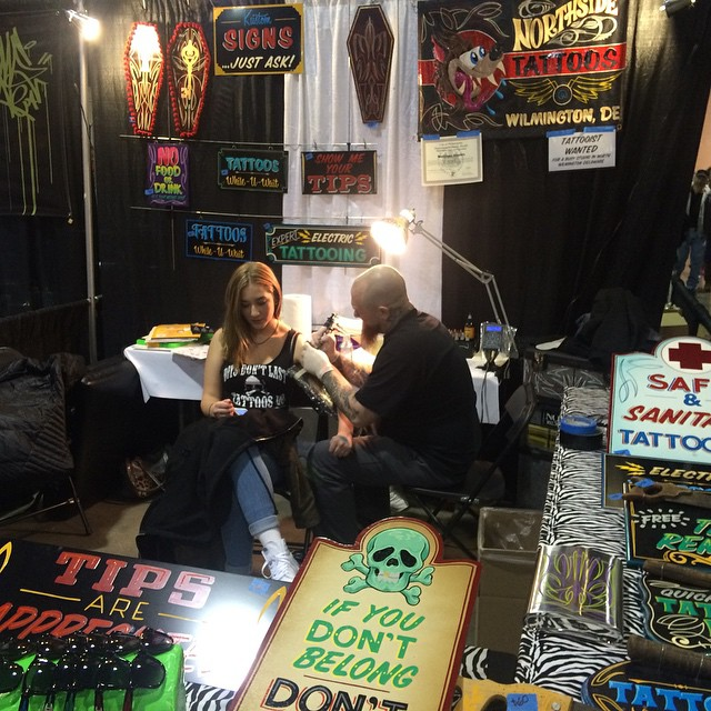 Philadelphia Tattoo Arts Convention is going strong til midnight tonight & 11-7 Sunday. Visit us at Booth 139 - we still have limited availability for walk-ups! #philadelphiatattooartsconventiom #phillytattooconvention #tattooconvention #northsidetattoosdotcom #northsidetattoos #northsidetattoo #pinstriper #handpaintedsigns #alwayshandpaint