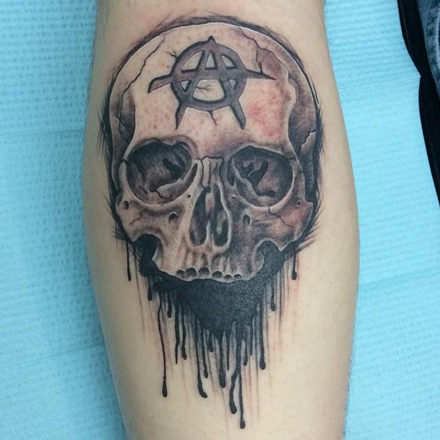 Skull by Matt Stankis #northsidetattoosdotcom #northsidetattoos #northsidetattoo #nst #tattoo #skull #blackandgrey #anarchy #mattstankis #nofilter #delaware