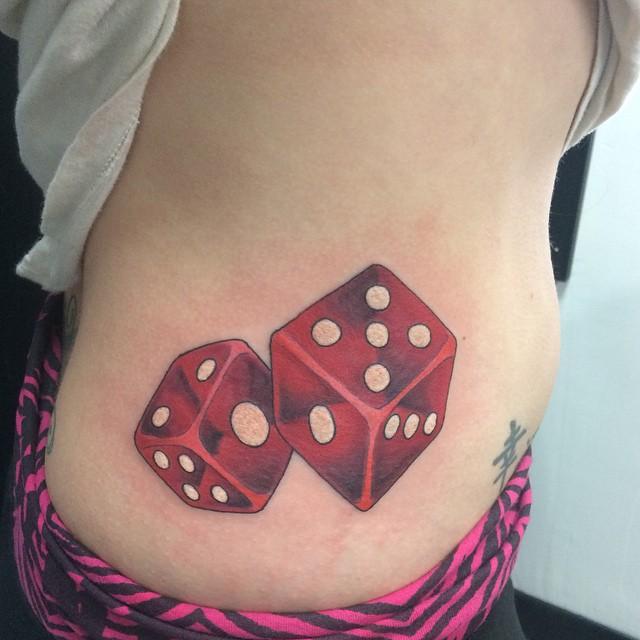 Translucent Red Dice by Matt Stankis #northsidetattoosdotcom #northsidetattoos #northsidetattoo #nst #mattstankis #tattoo #dice #dicetattoo #colortattoo #delaware