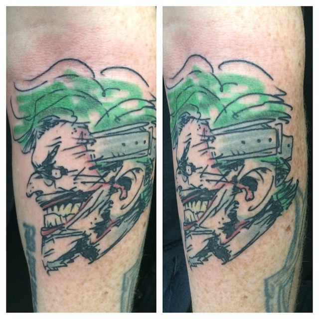 Joker design by Scott Snyder, tattooed by Matt Stankis #northsidetattoosdotcom #northsidetattoos #northsidetattoo #nst #mattstankis #joker #batman #jokertattoo #scottsnyder #tattoo #delaware