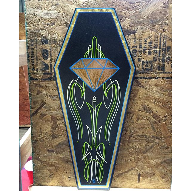 Coffin Panel by Matt Stankis for Coffin Ball Art Show for sale @Talleyville Frame Shoppe thru the end of October #northsidetattoosdotcom #northsidetattoos #northsidetattoo #pinstriping #pinstriped #goldleaf #alwayshandpaint #handpainted #mattstankis #wilmingtonde #delaware