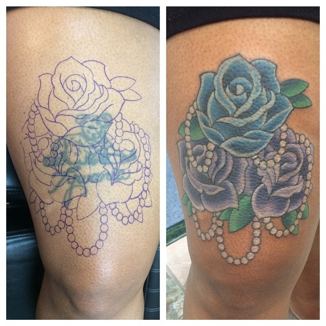 Neo-Traditional Rose Cover-Up by Matt Stankis #northsidetattoosdotcom #northsidetattoos #northsidetattoo #mattstankis #tattoo #neotraditional #neotrad #rosetattoo #roses #colortattoo #tattoosforwomen #coveruptattoo #coverup #eternalink #delawaretattoo #wilmingtonde #delaware
