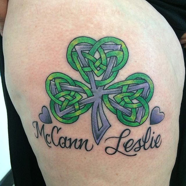 Celtic Clover by Matt Stankis #northsidetattoosdotcom #northsidetattoos #northsidetattoo #mattstankis #tattoo #celtictattoo #celtic #colortattoo #tattoosforwomen #wilmingtonde #delawaretattoo #delaware