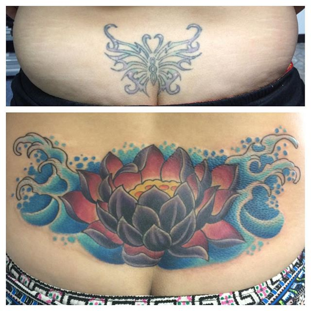 Lotus Cover Up by Matt Stankis #northsidetattoosdotcom #northsidetattoos #northsidetattoo #mattstankis #delaware #tattoo #tattoos #coveruptattoo #tattoofix #tattoorehab #tattoosforwomen #colortattoo #eternalink #lotustattoo #delawaretattoo #wilmingtonde #delaware