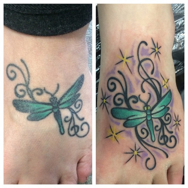 Reworked Dragonfly by Matt Stankis #northsidetattoosdotcom #northsidetattoos #northsidetattoo #nst #mattstankis #tattoorehab #tattoorework #tattoofix #foottattoo #dragonflytattoo #dragonfly #tattoo #tattoosforwomen #wilmingtonde #delaware