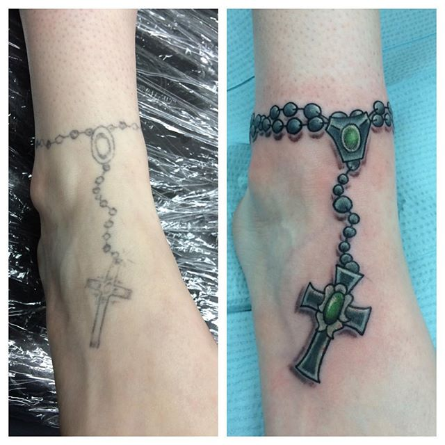 Before/After Rosary on foot by Matt Stankis #northsidetattoosdotcom #northsidetattoo #northsidetattoos #nst #mattstankis #tattoo #tattoofix #tattoorehab #tattoosforwomen #foottattoo #rosarytattoo #wilmingtonde #delawaretattoo #delaware