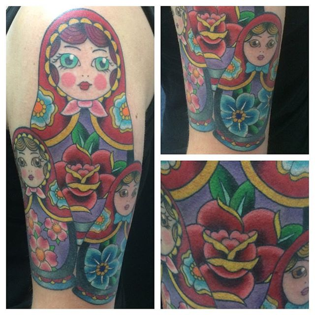 Matryoshka (Russian Nesting Dolls) by Matt Stankis #northsidetattoosdotcom #northsidetattoos #northsidetattoo #mattstankis #tattoo #tattoosforwomen #russiandolltattoo #matryoshkatattoo #nestingdolls #eternalink #colortattoo #neotraditionaltattoo #neotraditional #wilmingtonde #delawaretattoo #delaware