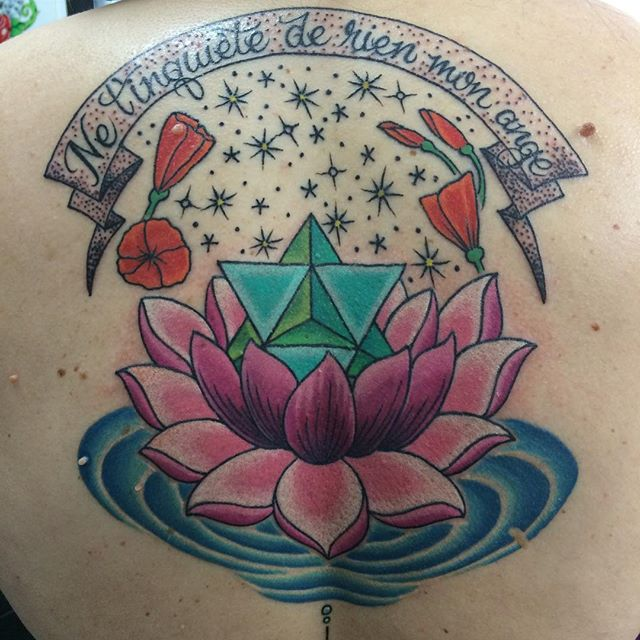 Lotus with Star Tetrahedron by Matt Stankis #northsidetattoosdotcom #northsidetattoos #northsidetattoo #mattstankis #tattoo #lotus #lotustattoo #geometrictattoo #tetrahedron #tetrahedrontattoo #tattoosforwomen #neotraditional #neotrad #colortattoo #eternalink #wilmingtonde #delawaretattoo #delaware