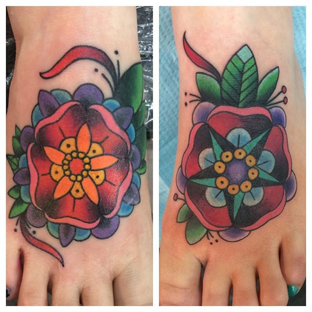 Mandalas by Matt Stankis #northsidetattoosdotcom #northsidetattoos #northsidetattoo #mattstankis #tattoo #tattoos #tattoosforwomen #foottattoo #feettattoos #mandalatattoo #neotraditionaltattoo #colortattoo #flowertattoo #eternalink #wilmingtondelaware #delawaretattoo #delaware #nofilter
