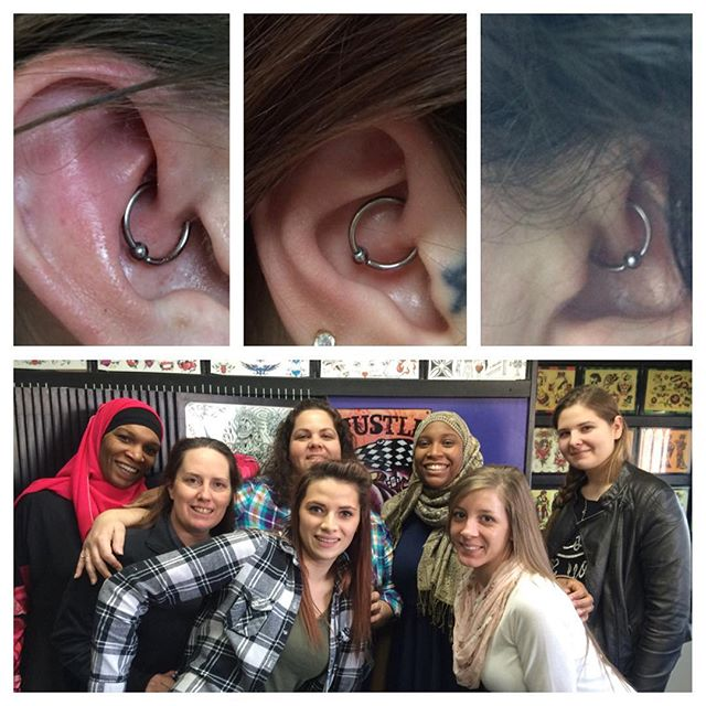 This fun group of nurses all came in for piercings today, thanks ladies! Daiths by Amber Stankis #northsidetattoosdotcom #northsidetattoos #northsidetattoo #bodypiercing #bodypiercer #piercings #secondyearbodypiercer #amberstankis #daith #sinkthatdaith #wilmingtondelaware #delawaretattooshop #delaware
