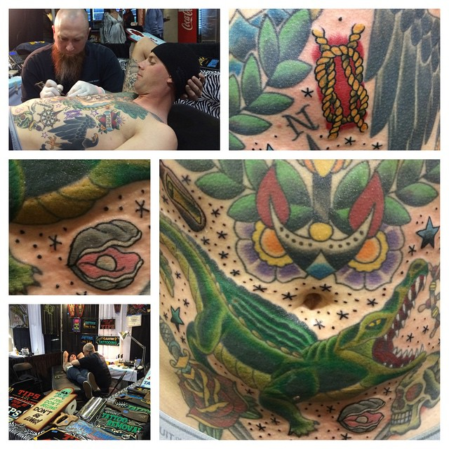Color & filler from the convention this weekend. Terrible pic of the gator and he's in Cali so no easy redo. Thanks for sitting like a rock and see ya for the shark & flying fish soon! @wadi_wilson #phillytattooconvention #tattoo #americantattoo #americantraditional #mattstankis #northsidetattoosdotcom #northsidetattoos #northsidetattoo #boldwillhold