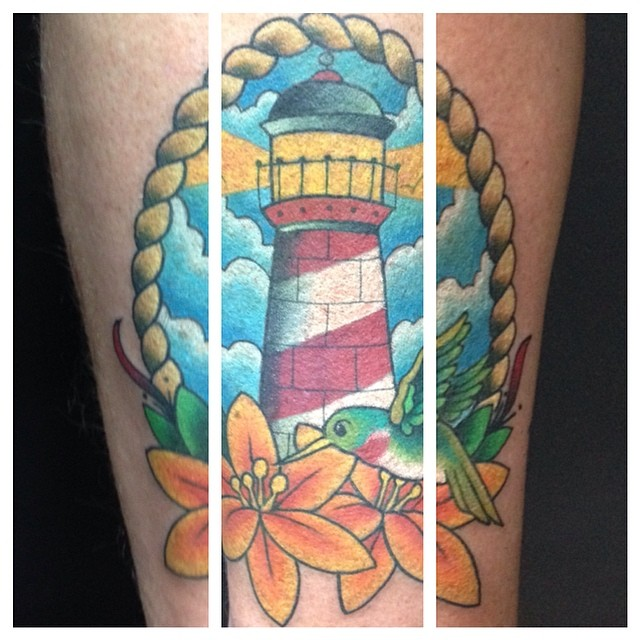 A memorial tattoo for the client symbolizing the good memories he has for them. #northsidetattoosdotcom #northsidetattoos #mattstankis #lighthousetattoo #hummingbirdtattoo #tattoo