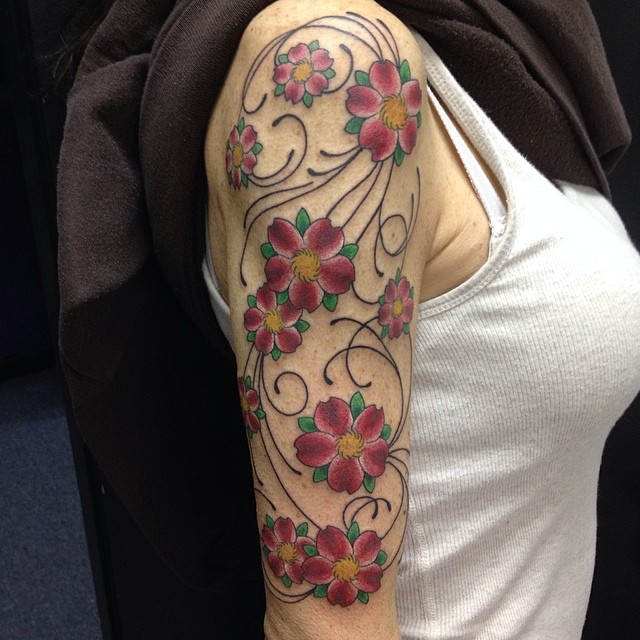 Cherry blossoms and filigree 1/2 sleeve panel by Matt Stankis #northsidetattoosdotcom #northsidetattoos #mattstankis #tattoo #cherryblossomtattoo #delaware #tattoosforwomen #onesessionwonder